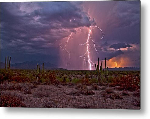 Arizona Lightning Photography Metal Print featuring the photograph Beeline Highway Dancer by Cathy Franklin