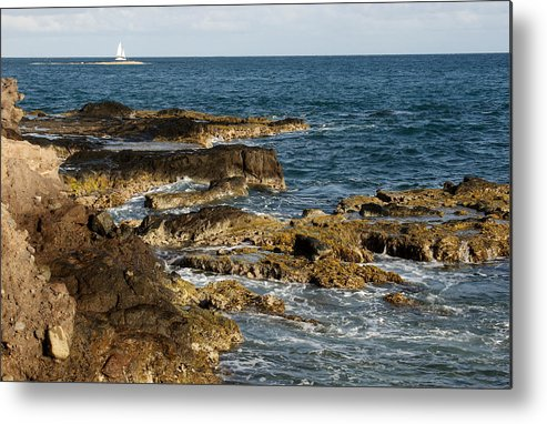 Sailboat Metal Print featuring the photograph Black Rock Point and Sailboat by Jean Macaluso