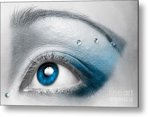 Eye Metal Print featuring the photograph Blue Female Eye Macro with Artistic Make-up by Maxim Images Prints