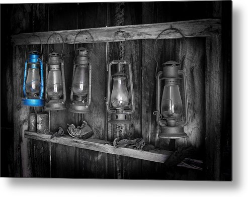 Darin Volpe Ruins Metal Print featuring the photograph Blue Lantern - Bodie State Historic Park by Darin Volpe