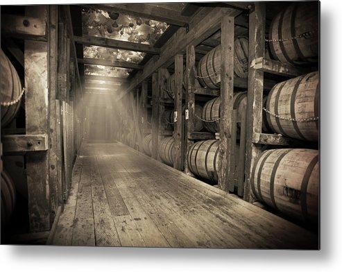 Bourbon Barrel Metal Print featuring the photograph Bourbon Barrels by Glass Glow by Karen Varnas