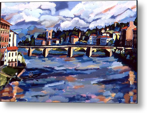 Landscape Metal Print featuring the painting Bridge In Florence by Doris Lane Grey