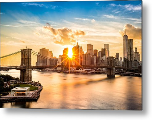 America Metal Print featuring the photograph Brooklyn Bridge and the Lower Manhattan skyline at sunset by Mihai Andritoiu