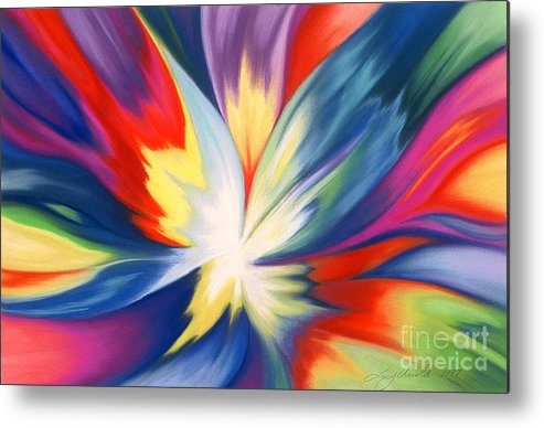 Abstract Metal Print featuring the painting Burst Of Joy by Lucy Arnold