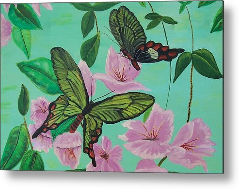 Butterfly Metal Print featuring the painting Butterflies In Flight by Martha Mullins