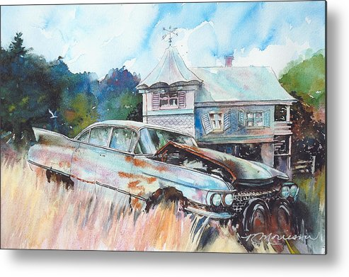 Cadillac Metal Print featuring the painting Caddy Sliding Down the Slope by Ron Morrison