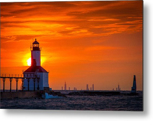 Chicago Skyline Seen From Michigan City Metal Print By Jackie Novak