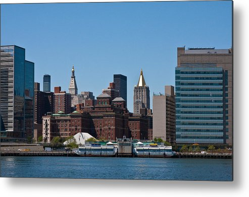 Nyc new York empire State Building Skyline Landscape Cityscape Water east River River Water  Metal Print featuring the photograph City Hall by Arthur Sa