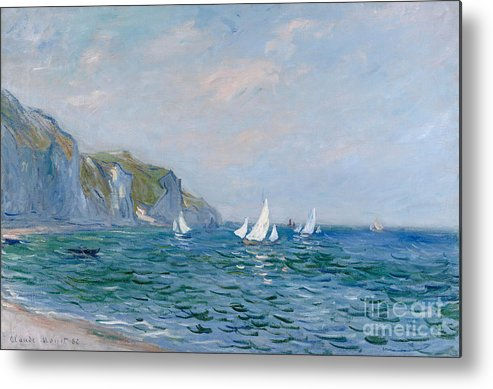 Cliffs And Sailboats At Pourville Metal Print featuring the painting Cliffs and Sailboats at Pourville by Claude Monet
