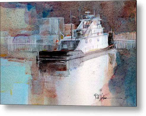 Barge Metal Print featuring the painting Cold River by Robert Yonke