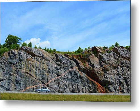 Abstract Metal Print featuring the photograph Composition of Car and Rock Seam by Lyle Crump