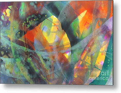 Abstract Metal Print featuring the painting Connections by Lucy Arnold