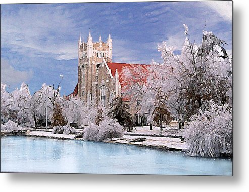 Winter Metal Print featuring the photograph Country Club Christian Church by Steve Karol