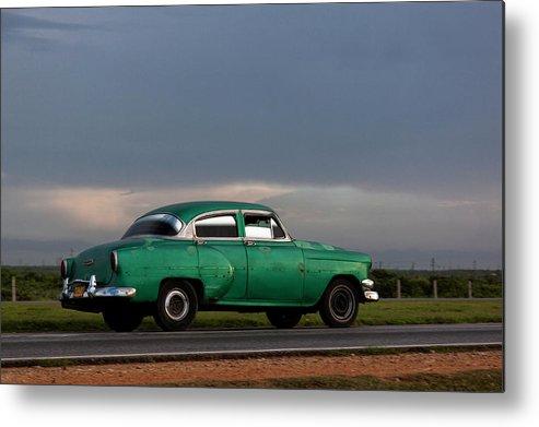 Cuban Car At Sunset; Cuban; Cuba; Car; Sunset; Car; Cars; Green; Motorsport Art; Motorsport; Luxury; Oldtimer; Youngtimer; Happiness; Photography & Digital Art; Photography; Photo; Photo Art; Art; Digital Art; 2bhappy4ever; 2bhappy4ever.com; 2bhappy4evercom; Tobehappyforever; Metal Print featuring the digital art Cuban Car at Sunset by Erron