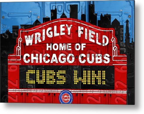 Cubs Win Metal Print featuring the mixed media Cubs Win Wrigley Field Chicago Illinois recycled Vintage License Plate Baseball Team Art by Design Turnpike
