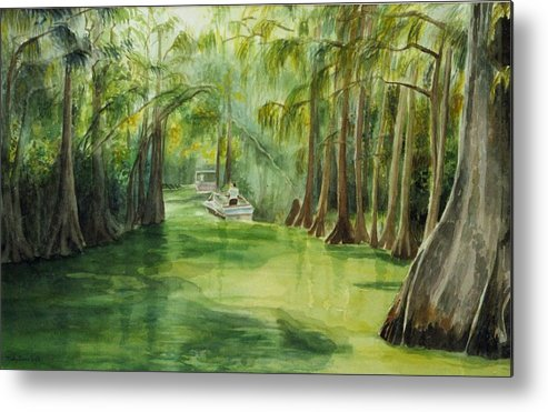Passage Between Lakes Metal Print featuring the painting Dora Passage by Judy Swerlick