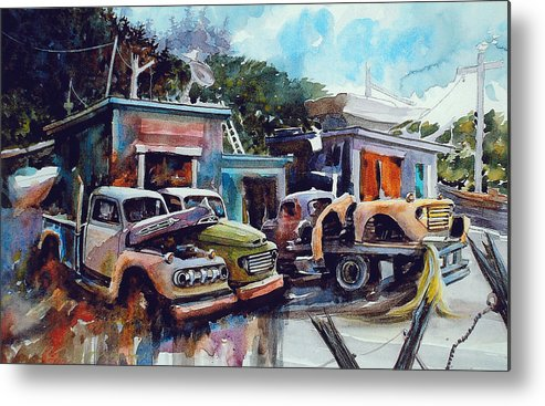 Trucks Metal Print featuring the painting Down on the Lower Road by Ron Morrison