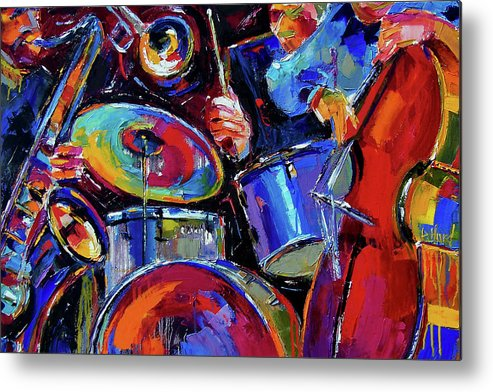 Jazz Metal Print featuring the painting Drums And Friends by Debra Hurd