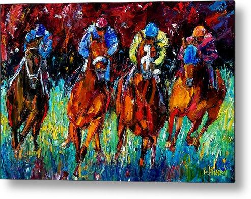 Horse Race Metal Print featuring the painting Endurance by Debra Hurd