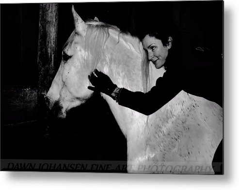 White Horse Metal Print featuring the digital art Erin and Mikey by Dawn Johansen