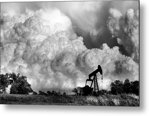 Oil Rig Metal Print featuring the photograph Field of Nightmares by Karen Scovill