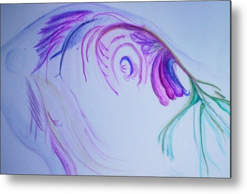 Abstract Painting Metal Print featuring the painting Fishy by Suzanne Udell Levinger