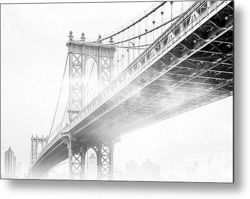 Manhattan Bridge Metal Print featuring the photograph Fog Under The Manhattan BW by Az Jackson