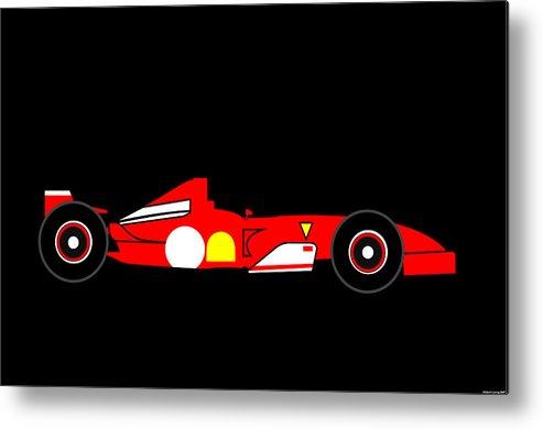 Ferrari Metal Print featuring the digital art Formula One Ferrari by Asbjorn Lonvig