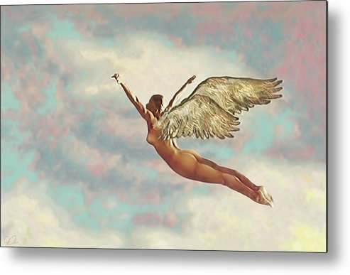 Angel Clouds Female Flight Flying Nude Religious Sky Wings Metal Print featuring the digital art Free Falling by Van Cordle