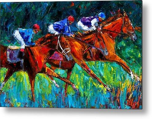 Horse Race Metal Print featuring the painting Full Speed by Debra Hurd