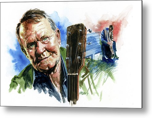 Guitarists Metal Print featuring the painting Glen Campbell by Ken Meyer jr