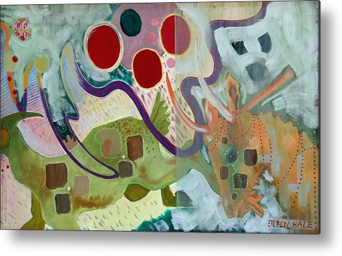 Abstract Expressionist Dream-surreal Metal Print featuring the painting Goat Squad by Eileen Hale