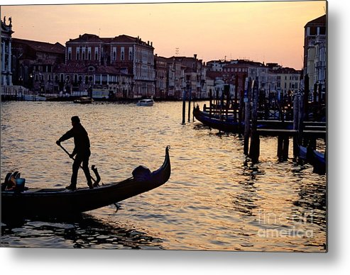 Venice Metal Print featuring the photograph Gondolier In Venice In Silhouette by Michael Henderson