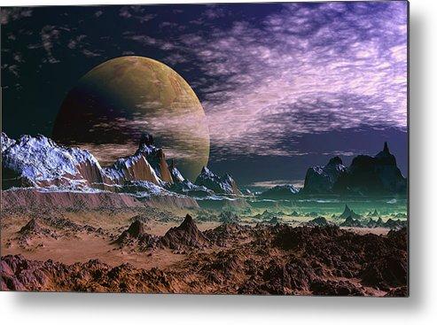 David Jackson Great Moona Alien Landscape Planets Scifi Metal Print featuring the digital art Great Moona. by David Jackson
