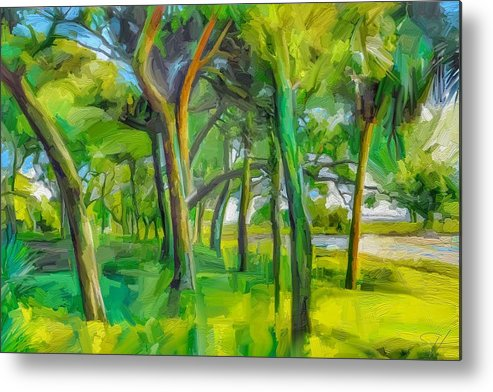Green Shore Trees Landscape Florida Trees Metal Print featuring the digital art Green Shore Trees by Scott Waters