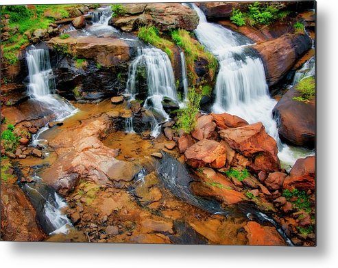 Nature Metal Print featuring the photograph Greenville's Reedy River Falls, South Carolina by Zayne Diamond Photographic