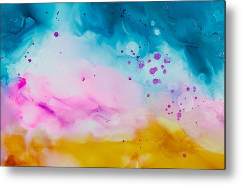 Abstract Metal Print featuring the painting Heat Wave - A by Sandy Sandy