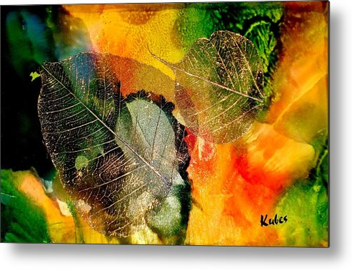 Abstract Metal Print featuring the mixed media High on Nature by Susan Kubes