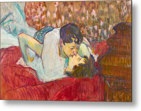 In Bed The Kiss Metal Print By Henri De Toulouse Lautrec