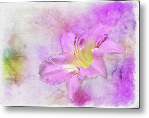 Flower Metal Print featuring the painting In The Pink by Ches Black