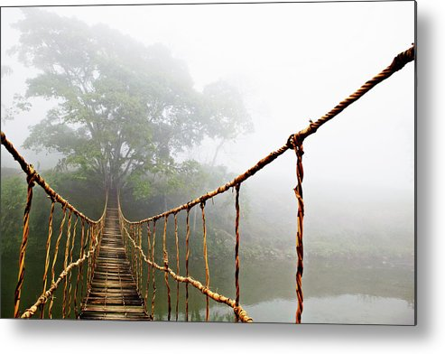 Rope Bridge Metal Print featuring the photograph Jungle Journey by Skip Nall