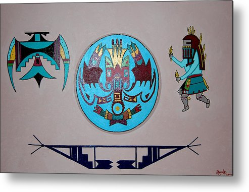 Native American Art Metal Print featuring the painting Kachina Dance by Marco Morales