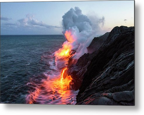 Kilauea Volcano Kalapana Lava Flow Sea Entry The Big Island Hawaii Hi Metal Print featuring the photograph Kilauea Volcano Lava Flow Sea Entry 3- The Big Island Hawaii by Brian Harig
