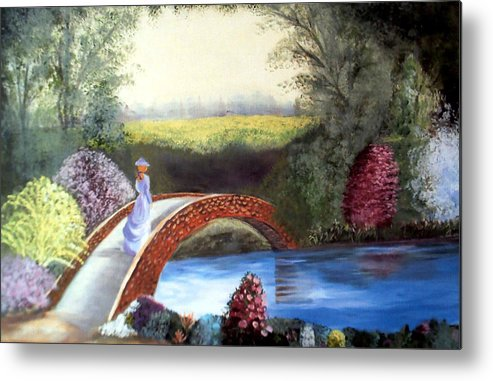 Landscape Metal Print featuring the painting Lady on the Bridge by Julie Lamons