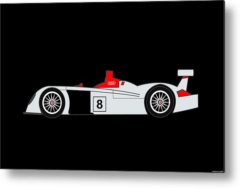 Audi Metal Print featuring the digital art Le Mans Audi R8 by Asbjorn Lonvig