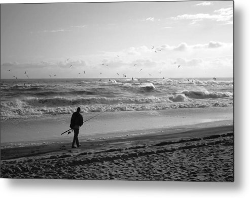 Sea Metal Print featuring the photograph Lone Fisherman by Linda C Johnson