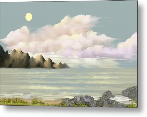 Seascape Metal Print featuring the digital art Lost Beach by Tony Rodriguez