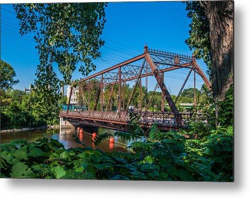 Merriam Street Bridge; Bridge; St. Anthony Riverplace; Minneapolis Metal Print featuring the photograph Merriam Street Bridge by Lonnie Paulson