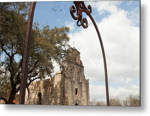 Texture Landscape Metal Print featuring the photograph Mission Espada by Iris Greenwell