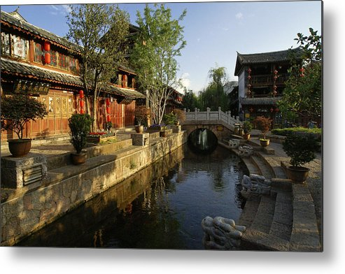 Asia Metal Print featuring the photograph Morning Comes to Lijiang Ancient Town by Michele Burgess